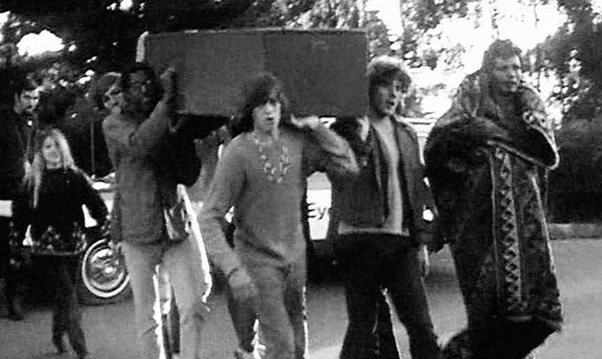 Grateful Dead seen in San Francisco local news footage at famous 'Death of a Hippie' ceremony, 1967