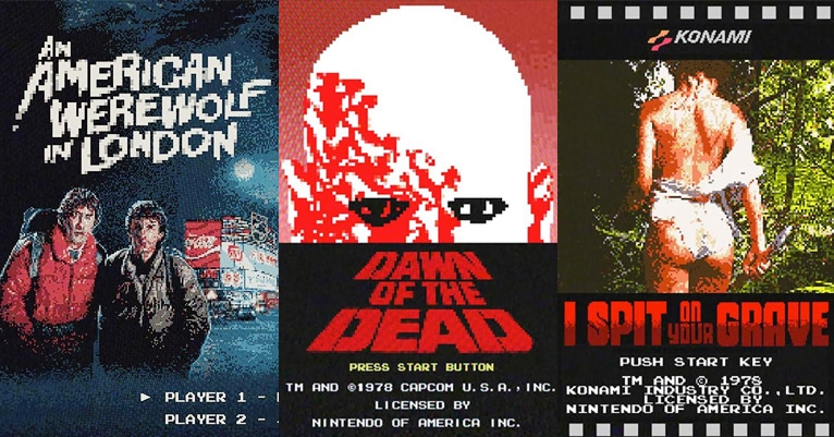 Classic horror movie posters reimagined as 8-bit NES video screens