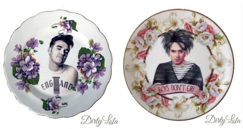 Kitchy vintage dishware with images of Prince, David Bowie, Robert Smith, Lemmy, Moz & more!