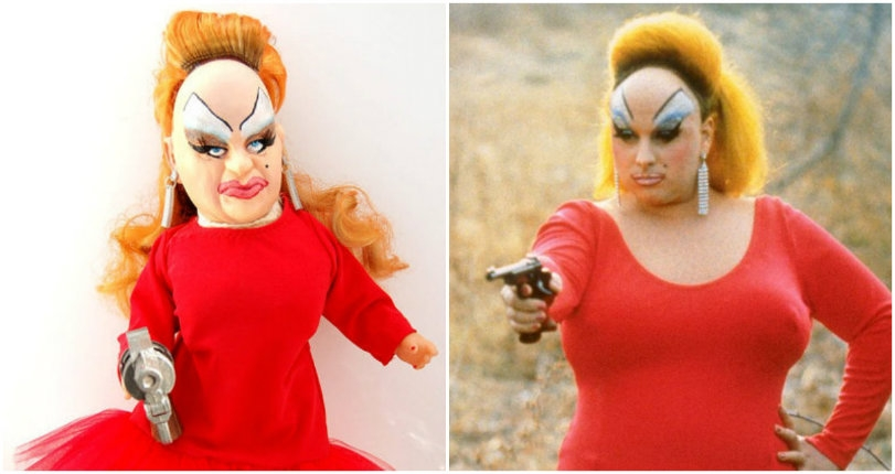 Adorable Divine doll dressed as gun-toting 'Babs Johnson' from 'Pink Flamingos' (gun included!)