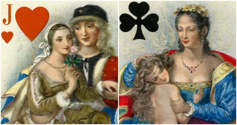 Lusty erotic playing cards from 1955