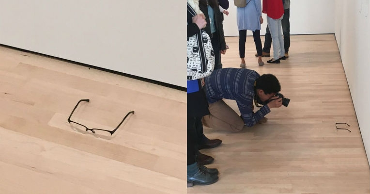 Someone put eyeglasses on a museum floor, people thought it was art