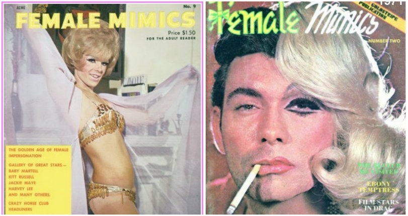 Drag-tastic covers from vintage crossdresser magazine 'Female Mimics'
