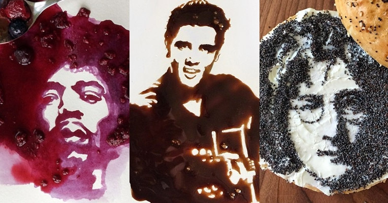 Caitlyn Jenner, John Lennon, Jimi Hendrix, Elvis, Biggie, Beyoncé and more, painted in food