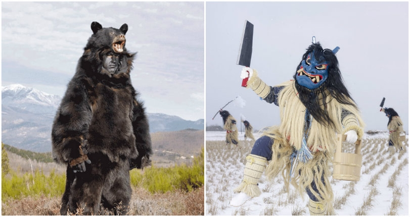 Stunning images of pagan costumes worn at winter celebrations around the world