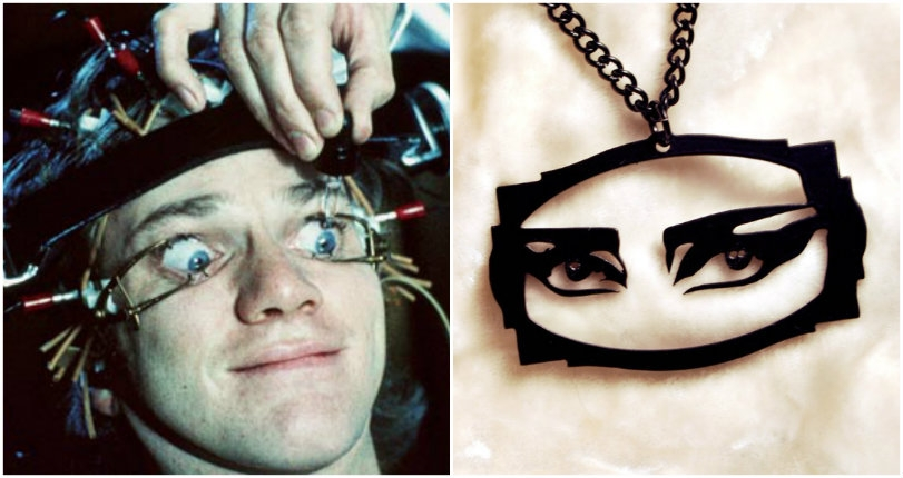 Laser-cut jewelry based on 'A Clockwork Orange,' Siouxsie Sioux's 'eyes' & other pop culture icons