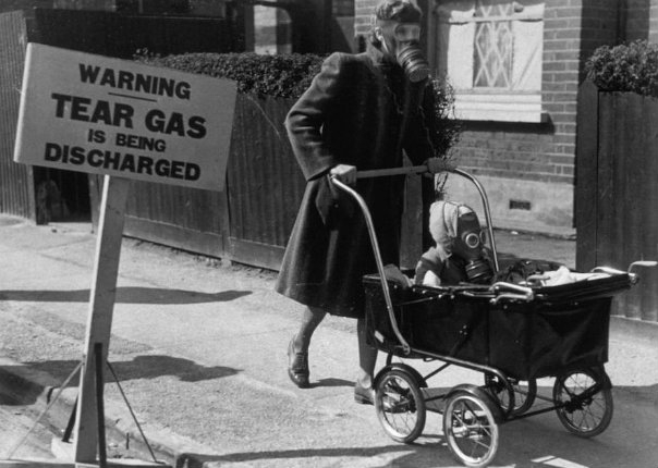Nuclear family: Apocalyptic images of babies and kids outfitted in gas masks during wartime