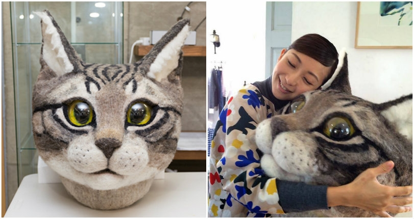 Goes great with ACID: Behold the completely f*cked up giant wearable cat head
