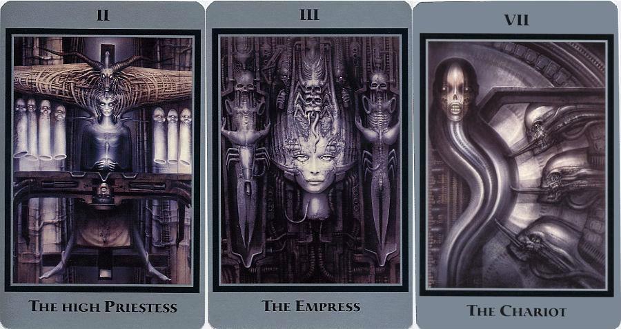 H.R. Giger's nightmarish tarot cards (NSFW)