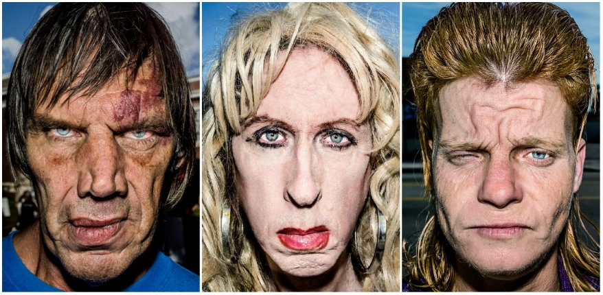 Pain is skin deep: Extreme close-up portraits of people on the edge