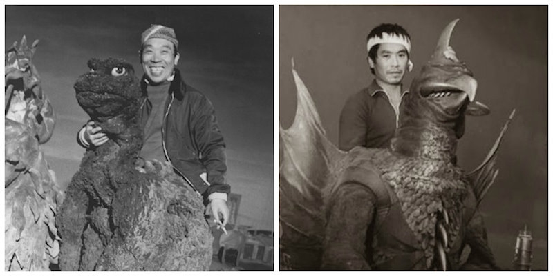 Amusing behind the scenes photos from vintage Godzilla films