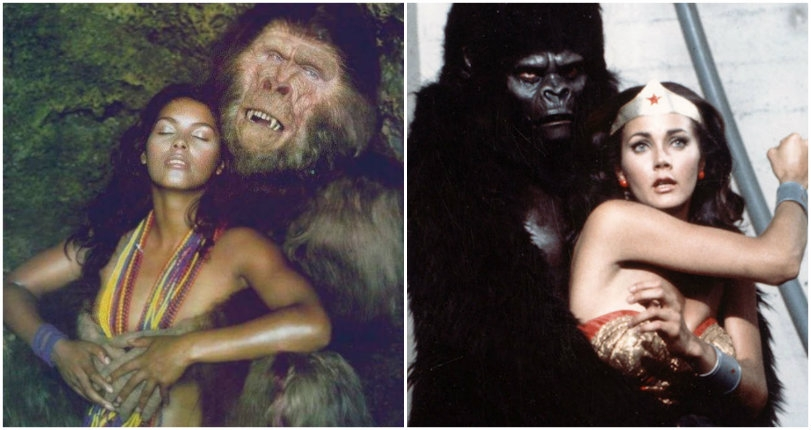 Some beauties and some beasts: Cheeky vintage photos of glamorous girls and gorillas