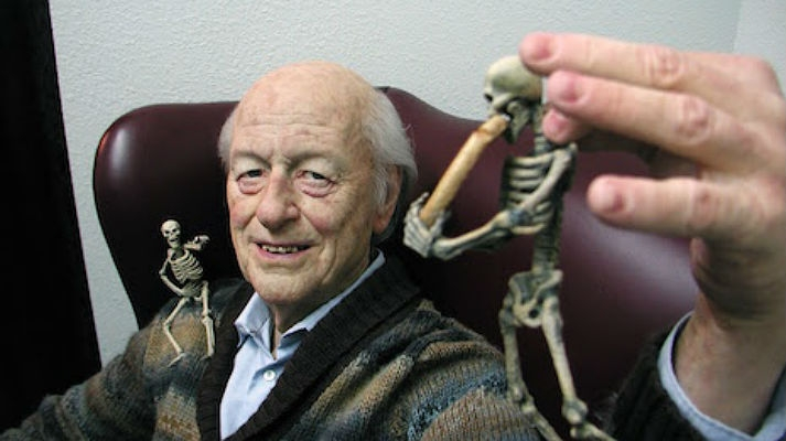 Hyper-realistic life-size sculpture of special effects pioneer, Ray Harryhausen
