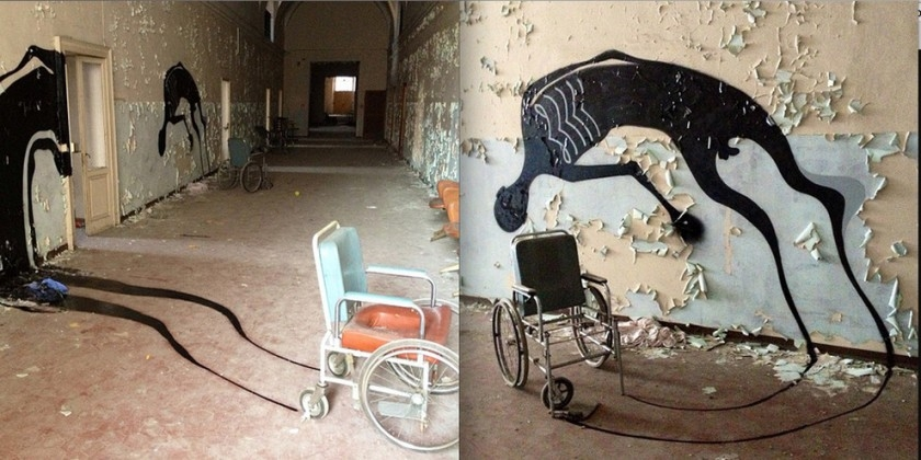 Ghostly painted shadows in abandoned psychiatric hospital