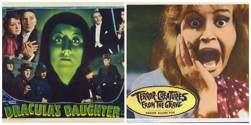 Vintage horror film lobby cards through the decades