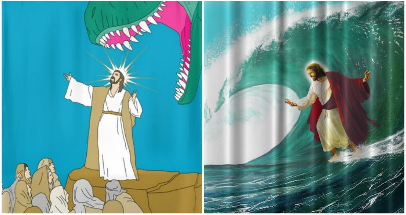 Jesus appears on designer shower curtains as Satan, a surfer, his holiness Tom Waits & MORE!