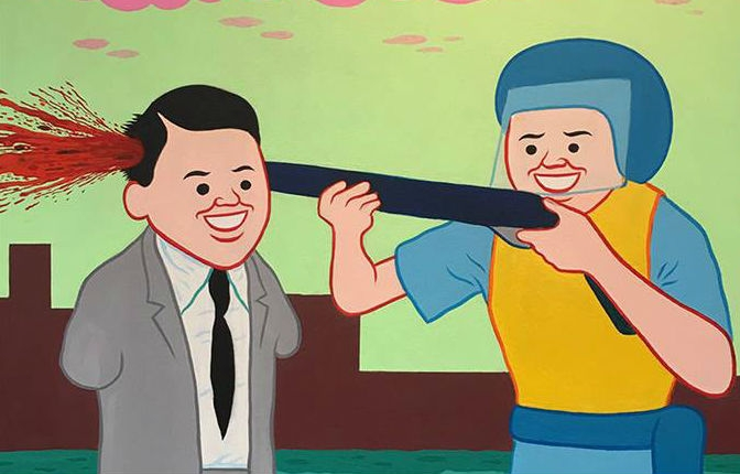 More darkly f*cked up comicstrip paintings from Joan Cornellà