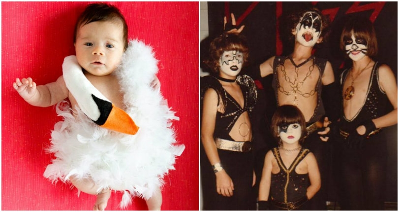 Kids dressed up for Halloween like Prince, Adam Ant, KISS, & even a baby Björk