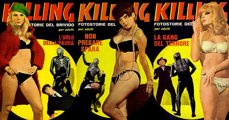 Lurid covers from 'Killing,' the transcendentally trashy European murder comic