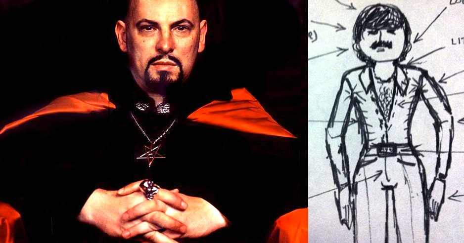 Anton LaVey's drawing of a typical '70s male is pretty funny