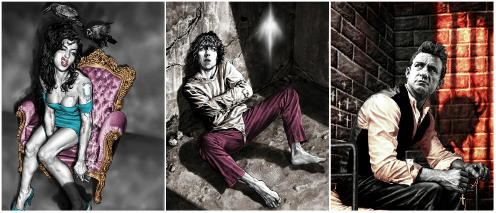 Provocative portraits of Syd Barrett, Johnny Cash, David Bowie & more by comic book hero Lee Bermejo