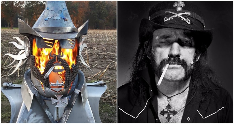 Behold a custom built Lemmy Kilmister fire pit that that spews flames from its face