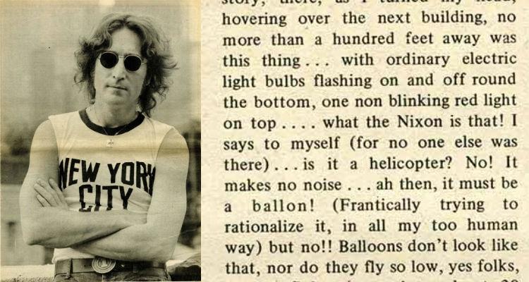 John Lennon sees a UFO in New York City, 1974