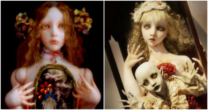 Surreal dolls reveal the dark fantasy worlds that live under their 'skin'