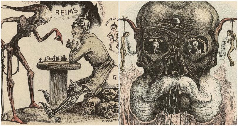 Morbid and grotesque Italian anti-German propaganda postcards from WWI
