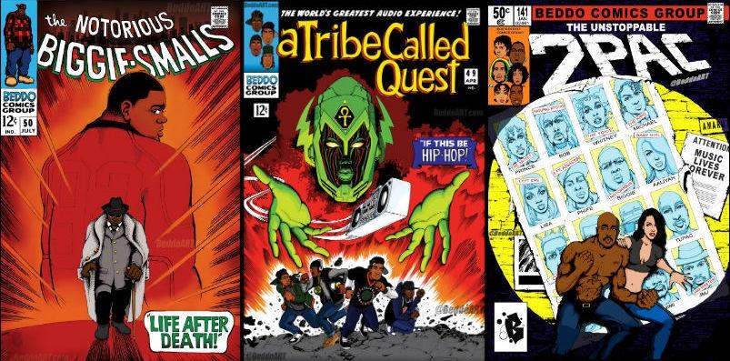 Classic Marvel comics covers remixed to showcase old school rap legends