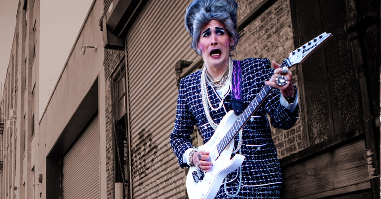 Meet Mrs. Smith, the world's greatest heavy metal drag busker