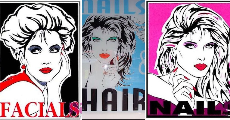 As long as there are beauty salons, there'll be cheesy Patrick Nagel knockoff advertisements