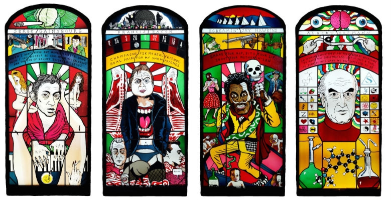 Stained glass windows of Aleister Crowley, Serge Gainsbourg, Johnny Cash, JG Ballard & many more