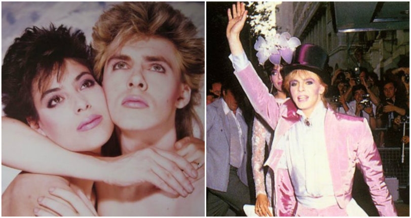 Duran Duran's Nick Rhodes and his cavity-inducing, bubblegum-colored totally 80s wedding