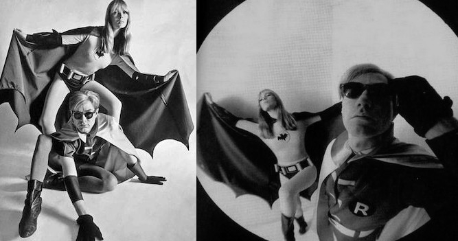 Andy Warhol and Nico dressed up as Batman and Robin, 1966