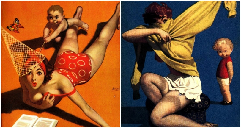 Troublemaking toddlers harass half-naked pin-up girls in vintage French magazine 'Paris Tabou'