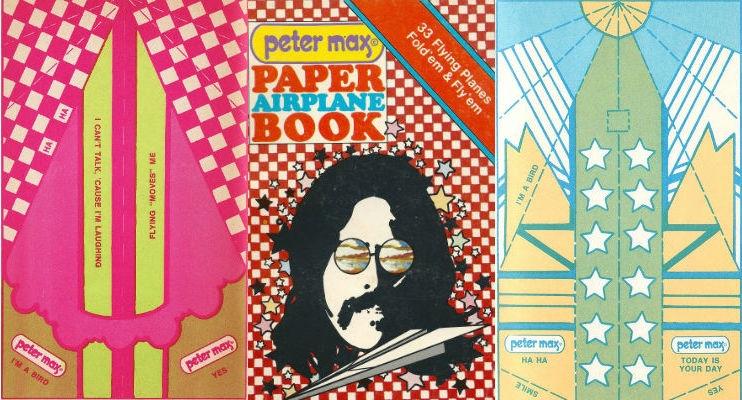 Peter Max's groovy pop art paper airplanes