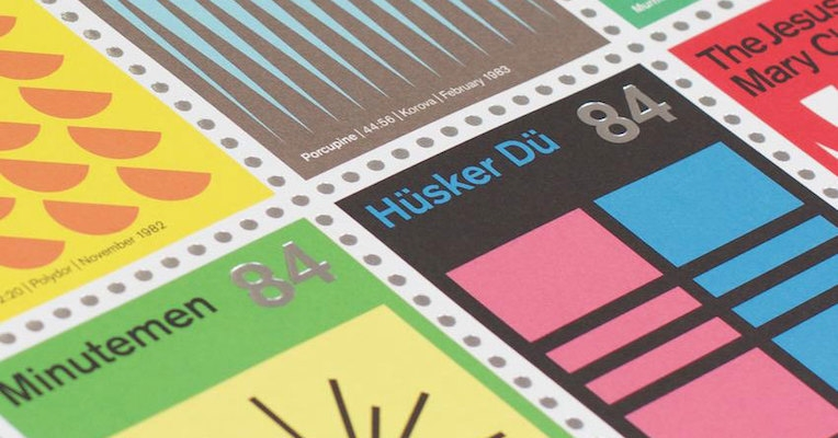 Post-punk and post-rock albums redone as postage stamps on Swiss modernist design principles