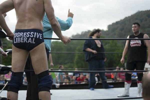 A snowflake on the Fourth of July: Hillary-loving libtard wrestler brings the fight to Trump country