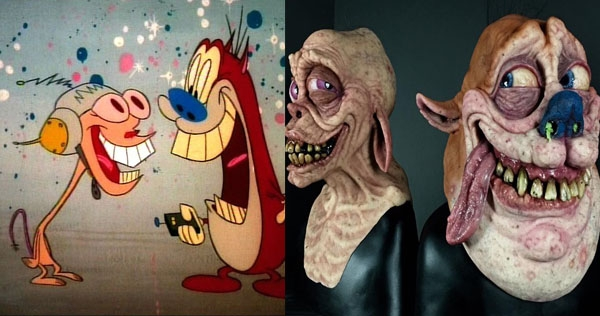 Disgusting hyper-realistic busts of Ren and Stimpy