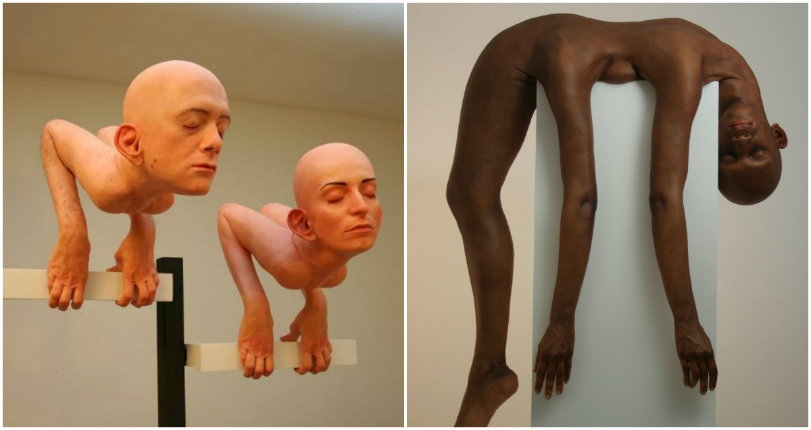 Realistic sculptures of free-floating body parts, 'humans' trapped in formaldehyde & other oddities