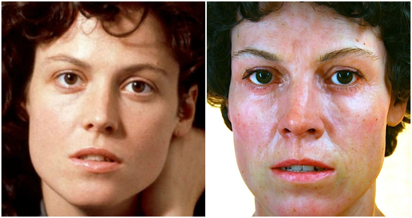 Hauntingly life-like sculpture of Sigourney Weaver in character from 'Alien'