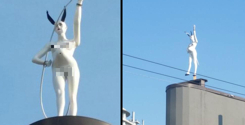 Pregnant, naked she-devil statue materializes in Vancouver