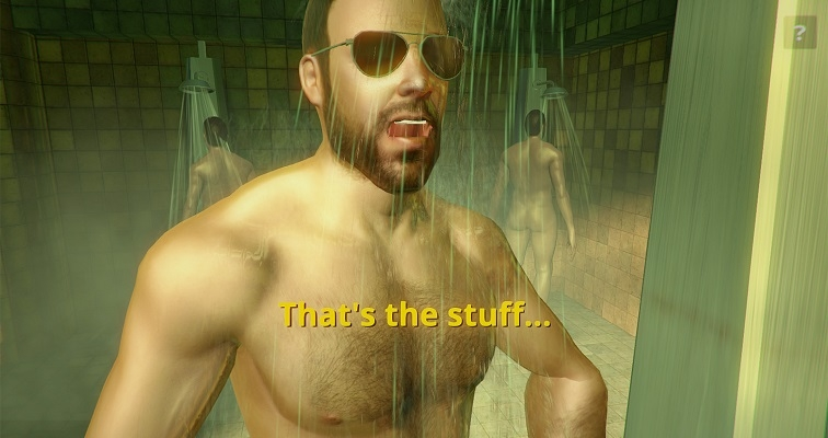 A new super-gay video game challenges you to wash a guy's back in the gym showers