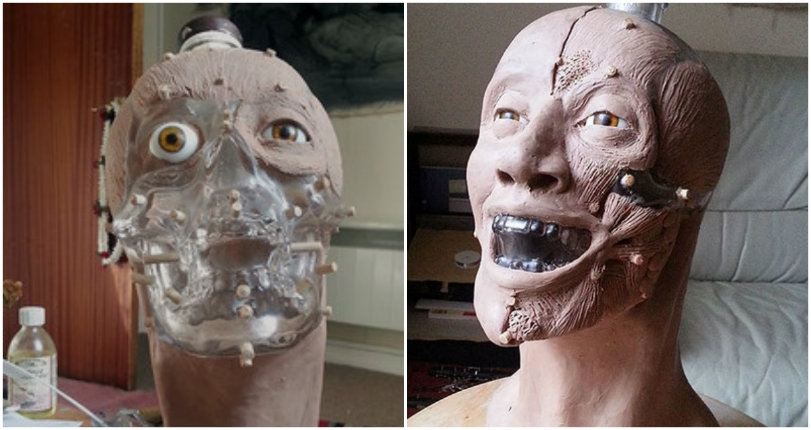 Forensic artist reconstructs horrifying 'happy face' using a skull-shaped bottle of vodka
