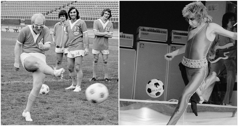 Rockstars with balls: Bob Marley, Rod Stewart, Elton John, Pink Floyd & more playing soccer