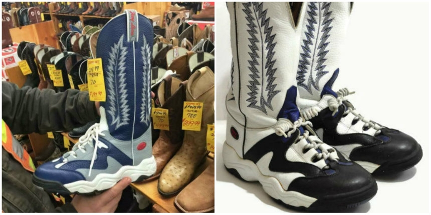 The second worst f*cking shoes on the planet: Basketball shoe cowboy boots