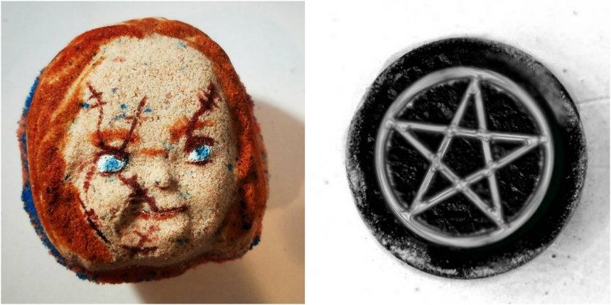 Head of Chucky bath bomb and other horror-themed bath bombs