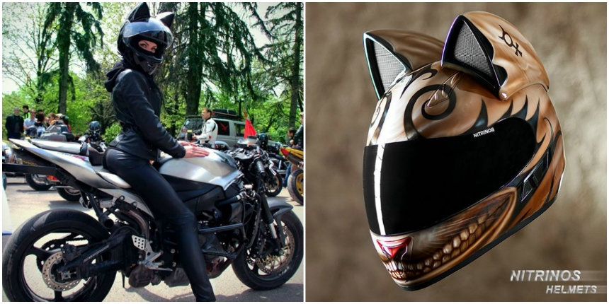 Badass cat motorcycle helmets from Russia