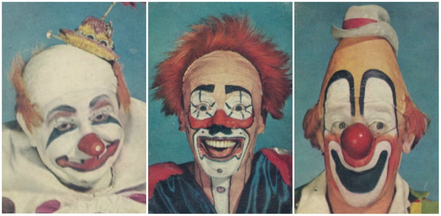 Unsettling vintage clown portraits